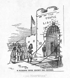"""Harper's Weekly cartoon, April E Pluribus Unum (Except the Chinese): Thomas Nast shows America as the """"Temple of Liberty"""" granting liberty to all except the Chinese. Chinese American, American History, Woodlawn Cemetery, Yellow Peril, 6th Grade Social Studies, Race In America, American Cartoons, Union Pacific Railroad"""