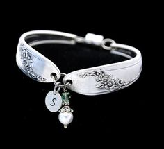 Etsy の Spoon Bracelet Initial Personalized by TheSilverwearShop