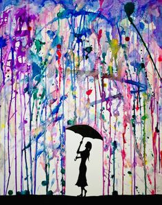 popping paint filled balloons on a canvas ..... put paint tape to cover the place to stencil, put paint filled balloons around canvas, pop with darts, let dry, use stencil to add silhouette - love it! Or do the crayon melting thing!...very cute