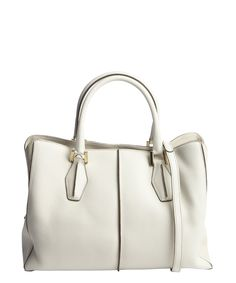 Tod's stone pebbled leather convertible top handle bag | BLUEFLY up to 70% off designer brands