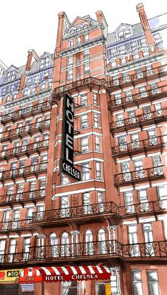 Chelsea Hotel illustration by Emma Kelly: http://www.handsomefrank.com/illustrators/emma-kelly/