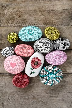 #playingwithmyrocks Rock art I love to recycle natures gifts. It takes time and concentration to hand paint each dot. The process brings me joy. The best feeling is running my hand over the bumpy texture once they are finished and knowing each dot was painted