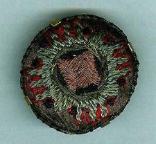 RARE Large 18th Century Fabric Button w/ Metalic Threads