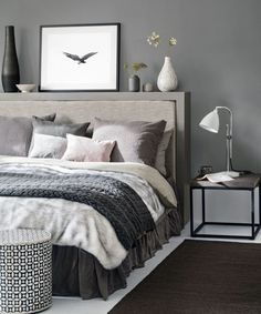 White and grey bedding ideas grey bedroom ideas cosy bedroom ideas for a restful retreat yellow . white and grey bedding ideas Dark Gray Bedroom, Grey Bedroom Design, Grey Bedroom With Pop Of Color, Grey Bedroom Decor, Grey Room, Trendy Bedroom, Modern Bedroom, Bedroom Designs, Charcoal Bedroom
