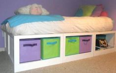 Storage Daybed - Lessons Learned - Full Tute with dimensions Totten Totten White homemaker Diy Furniture Projects, Home Projects, Furniture Redo, Pallet Projects, Diy Toddler Bed, Frozen Room, Daybed With Storage, Kids Wood, Girls Bedroom