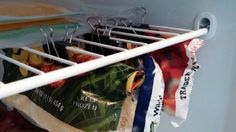 Binder clips are great for sealing bags. In the freezer, you can also use them to hang the bags and create some more space.