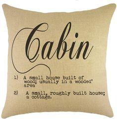 Cabin Burlap Throw Pillow