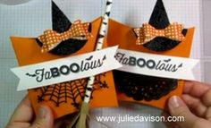 VIDEO: Halloween Pillow Box Treat + Witch's Hat Clip Tutorial #halloween #stampinup www.juliedavison.com
