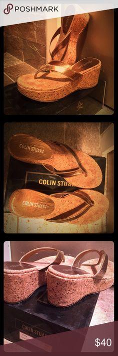 Shoes Cork bottom platform metallic thong sandals. Very good condition worn once. Colin Stuart Shoes Sandals