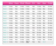 Alison Sweeney's full marathon training schedule.