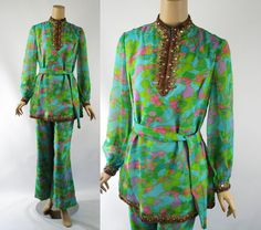 1960s Gold Beaded Paisley Chiffon Tunic Top by alleycatsvintage
