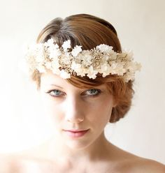 Flower crown, Bridal headpiece, Ivory bridal crown, Dried flower head piece, Wedding hair crown, Woodland boho headband - FLORAL LACE whichgoose etsy