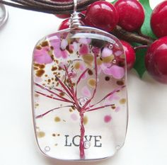 Cherry Blossoms Tree of Life Fused Glass Wire Wrapped Pendan