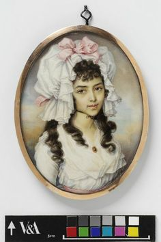 Portrait miniature of an unknown girl, Diana Hill, watercolor on ivory, c. probably painted in India. Rococo, Baroque, 18th Century Clothing, 18th Century Fashion, Miniature Portraits, Miniature Paintings, Large Painting, Portrait Art, Images