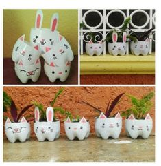 Start Designing with Recycling Ideas! - Start Designing with Recycling Ideas! The Effective Pictures We Offer You About fairy garden A qua - Plastic Bottle Planter, Plastic Bottle Crafts, Recycle Plastic Bottles, Kids Crafts, Easter Crafts, Diy And Crafts, Diy Ostern, Recycled Crafts, Recycled Materials