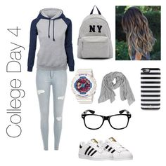 """""""College Day 4"""" by fashion-coma ❤ liked on Polyvore featuring adidas, Joshua's, Casio, Kate Spade, Samantha Holmes, women's clothing, women, female, woman and misses"""