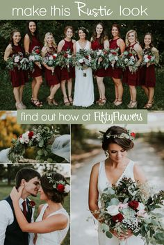 Blush and Burgundy, this look is perfect for a Rustic Wedding! See how to Make this Look at October Wedding, Fall Wedding, Rustic Wedding, Dream Wedding, Diy Wedding, Wedding Decor, Burgundy Wedding, Floral Wedding, Wedding Colors