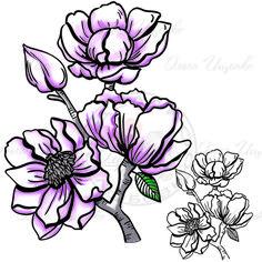 Силиконовые штампы для раскрашивания Цветы/Clear flower stamps | Сундучок Идей/Box of Ideas