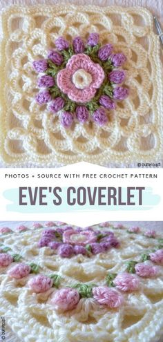 Impressive Granny Squares Free Crochet Patterns Beautiful Square Eve's Coverl… – Granny Square Granny Square Crochet Pattern, Crochet Blocks, Afghan Crochet Patterns, Crochet Squares, Crochet Motif, Crochet Yarn, Crochet Flowers, Crochet Stitches, Crochet Granny
