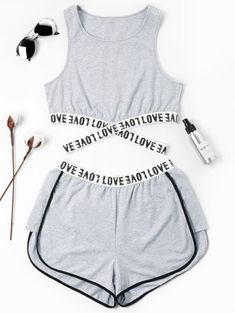 Summer Criss-Cross and Patch Letter Flat Elastic High Sleeveless Round Regular Active Casual and Sports Letter Patched Crossover Shorts Set - Cute outfits - Mode Teenage Outfits, Teen Fashion Outfits, Sporty Outfits, Mode Outfits, Outfits For Teens, Trendy Outfits, Summer Outfits, Girl Outfits, Womens Fashion