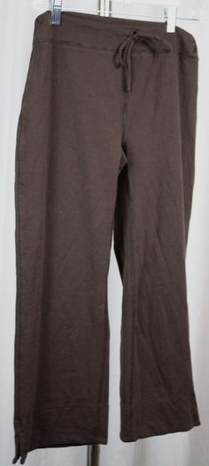 44899cdfa0 Lucy Womens Brown Stretch Knit Tie Waist Cropped Yoga Pants Size Medium # Lucy #PantsTightsLeggings