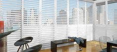 Hunter Douglas NewStyle hybrid shutters are plantation-style shutters that combine a wood style with the strength and stability of modern materials for quality shutters at an affordable price.