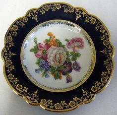 LIMOGES FRANCE PORCELAIN COBALT BLUE FLORAL DECORATIVE PLATE ie.picclick.com & French china limoges gda art nouveau clematis blossom plate | China ...