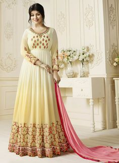 Discover the latest in stunning bollywood replica designer suits and salwar kameez online. Buy this Ayesha Takia embroidered and resham work faux georgette floor length anarkali suit. Anarkali Dress, Anarkali Suits, Long Anarkali, Ethnic Trends, Ladies Salwar Kameez, Floor Length Anarkali, Bollywood Dress, Pakistani Bridal Dresses, Designer Anarkali