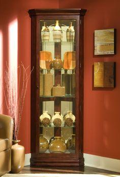 Corner Curio Cabinet - Victorian Cherry | Pulaski | Home Gallery Stores