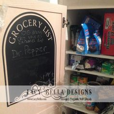 www.lacybella.com Grocery List chalkboard refrigerator decal kitchen home decor