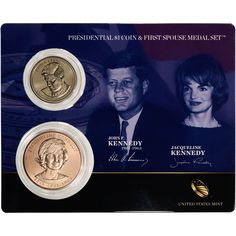 2015 US John F. Kennedy Presidential One Dollar Coin & First Spouse Medal Set