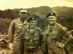 Green Berets in Dak Pek, Vietnam.  82nd Airborne, 5th Special Forces / Green Beanie.