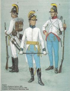 Austria; Line Infantry 1800. L to R Fusilier NCO Regt Hohenlohe, Officer Regt Splenyi & Fusilier Regt.Johann Jellacie