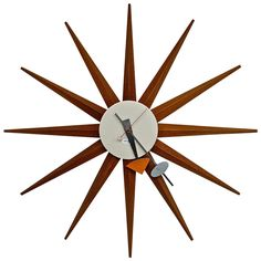 """Vintage """"Spike"""" Clock by George Nelson   From a unique collection of antique and modern clocks at https://www.1stdibs.com/furniture/decorative-objects/clocks/"""