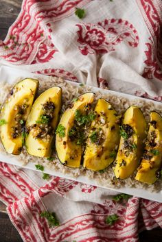 (Skip plating on rice) Honey-Jalapeño Roasted Acorn Squash -Naturally Ella - tons of good veggie receipes sorted by the vegetables  in season.