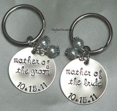 Two hand stamped sterling silver keychains - perfect for wedding gifts