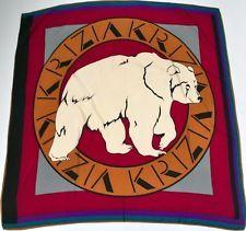 Krizia 'White Polar Bear' vintage silk scarf