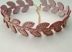 purple leaf lace choker necklace
