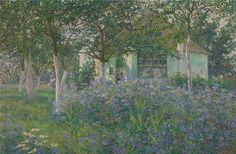 "My Studio in June Anna de Weert 1909-10  In 1893 Anna de Weert became a pupil of Emile Claus the leader of the movement devoted to Luminism the Belgian answer to French Impressionism and Neo-Impressionism. In 1895 she acquired a farm in Afsnee that had belonged to a Dominican monastery. Situated on the banks of the River Leie she built a studio next to the house. When Emile Claus founded the artists group ""Vie et lumière"" [Life and Light] in 1904 he was undoubtedly inspired by the motto…"