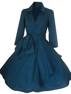 Luouse Women Vintage V-Ansatz 3/4 Hülse 50s 60s Rockabilly Pinup Schwingen Partei Abend Kleid mit Gürtel LUOUSE http://www.amazon.de/dp/B015W7EH4K/ref=cm_sw_r_pi_dp_KU9hwb1RGBSW1