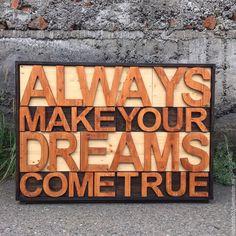 Купить Комод DREAMS темные тона - бежевый, комод, комод мечты, комод с буквами