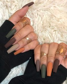 Fall Gel Nails, Cute Nails For Fall, Aycrlic Nails, Fall Acrylic Nails, Swag Nails, Hair And Nails, Coffin Nails, Matte Nails, Halloween Acrylic Nails