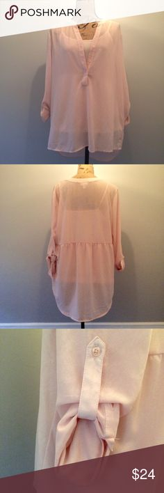 Hi-Lo Sheer, Blush Pink Two Piece Top Gorgeous two piece top in the softest blush pink. The under camisole and sheer over shirt with adjustable length sleeves features soft gathering in back. Straight and shorter in front, the back is longer and has a rounded hem. Worn once. From Kim Rogers, size L. Kim Rogers Tops