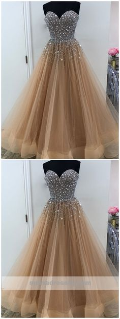 Sweetheart A line Beaded Tulle Long Custom Evening Prom Dresses, 17447