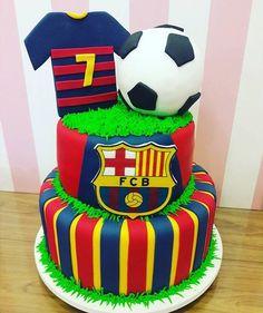 42 Messi Birthday, Soccer Birthday Cakes, Soccer Cake, Soccer Party, 5th Birthday, Bolo Do Barcelona, Novelty Cakes, Cute Cakes, Baby Shower
