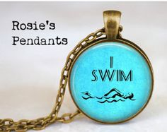 "AFTER CHRISTMAS SALE Swimming ""I Swim"" - Handcrafted Pendant or Key Ring - Gift for Swimmer - Athlete - Athletics - Swimming Jewelry"