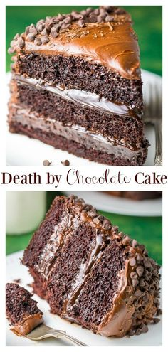 Chocolate cake death is rich, fiddly, and decadent! A dream for chocolate lovers comes true! cake through chocolate with chocolate cake We always find ourselves briefly in today& world, simple dessert recipes are important . Death By Chocolate Cake, Amazing Chocolate Cake Recipe, Decadent Chocolate Cake, Best Chocolate Cake, Homemade Chocolate, Chocolate Desserts, Chocolate Lovers, Chocolate Frosting, Layered Chocolate Cakes