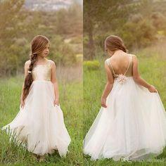 cd5135b13d 2017 Romantic Gold Sequins Tulle Flower Girls Dresses for Weddings Jewel  Neck Sleeveless Handmade Flower Long Pageant Dress for Teens