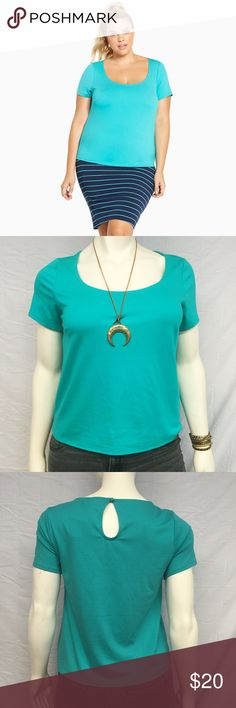 "Torrid Ponte Keyhole Top Torrid turquoise top with a keyhole cutout on the back. Scoop neckline. This top runs a bit short so it may fit more like a crop top on some. Please double check the length measurement. 40"" bust. 43"" waist. 24"" long. New with tags, undamaged. Smoke and pet free home. Bundle and save! torrid Tops Blouses"