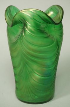 LOETZ style Iridescent Green Art Glass Vase. Ripp : Lot 133